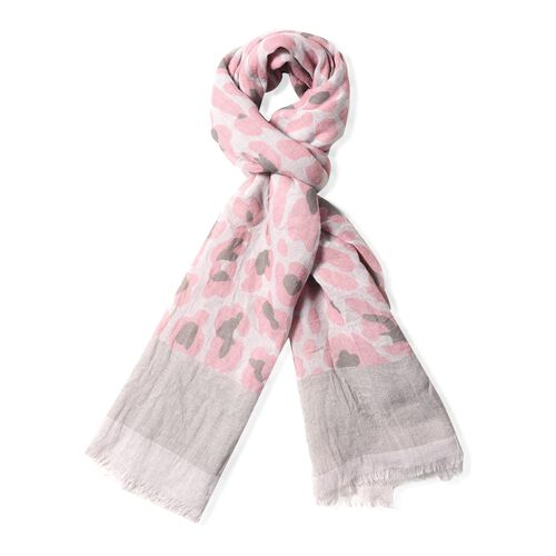 New Season-Grey and Pink Colour Leopard Print and Solid Colour Pattern Scarf (Size 178x100 Cm)