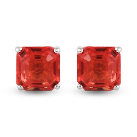 Padparadscha Quartz (Asscher 7x7mm) Solitaire Earrings (with Push Back) in Sterling Silver 3.77 Ct.