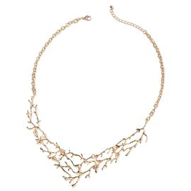 Designer Inspired- Gold Plated Tree Branch Necklace (Size 20 with 2.5 inch Extender)