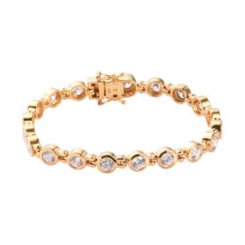 J Francis - 14K Gold Overlay Sterling Silver Bracelet (Size 7) Made with SWAROVSKI ZIRCONIA 12.40 Ct