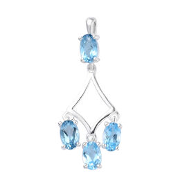 London Blue Topaz Pendant in Sterling Silver 1.25 Ct.