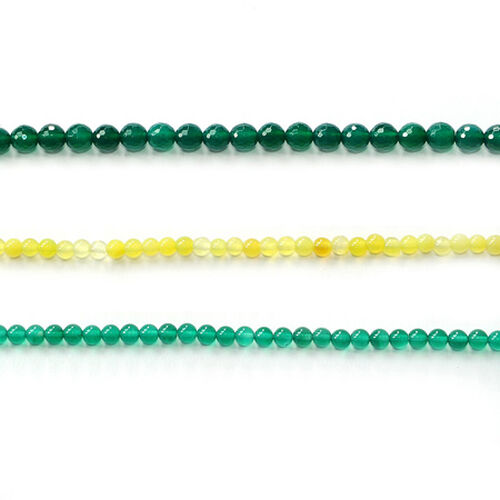 Green Agate Faceted Rounds 6mm and Rounds 4mm Enhanced, Yellow Agate Rounds 4mm 140.000 Ct.