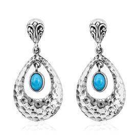 Royal Bali 1.38 Ct Sleeping Beauty Turquoise Drop Earrings in Sterling Silver 6.62 Grams