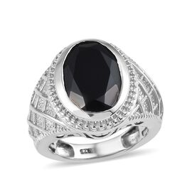7 Carat Natural Boi Ploi Black Spinel Solitaire Ring in Platinum Plated Silver 7.90 grams