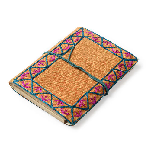 Yellow and Blue Colour Handmade Paper Notebook with Hand Embroidered Canvas Cover (Size 18x13 Cm)