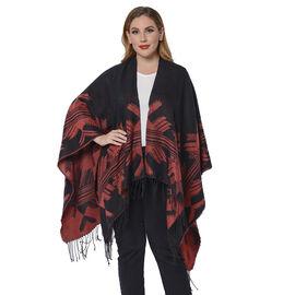 Snowflake Pattern Kimono (Size 135x75+13cm) - Black and Red