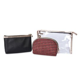 Set of 3 - 1 Transparent, 1 Solid Black and 1 Woven Pattern Red Colour Cosmetic Bag with Zipper Clos