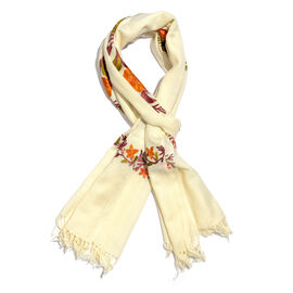 100% Merino Wool Cream, Orange and Multi Colour Floral and Leaves Embroidered Scarf Size 190X70 Cm