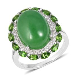 13.20 Ct Green Jade and Multi Gemstone Halo Ring in Rhodium Plated Sterling Silver 4.08 Grams