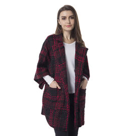 Designer Inspired - Red and Black Colour Checker Pattern Jacket with Collar (Size 80x65Cm)