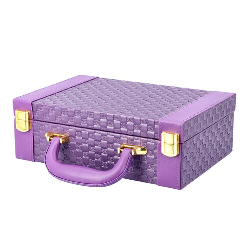 Purple Colour Woven Pattern Briefcase Design Double Layer Jewellery Box with Mirror Inside (Size 27.5X18.5X9 Cm)