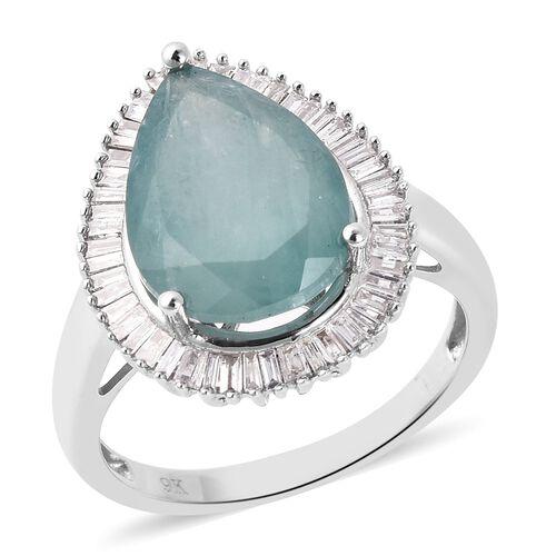 5.71 Ct AA Grandidierite and Diamond Halo Ring in 9K White Gold 3.38 Grams
