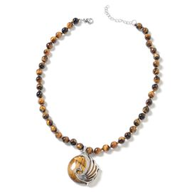 Tigers Eye (Rnd), White Austrian Crystal Peacock Beads Necklace (Size 18 with 1.5 inch Extender) in