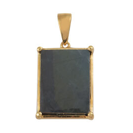 Natural Spectrolite (Bgt) Solitaire Pendant in 14K Gold Overlay Sterling Silver 6.000 Ct.