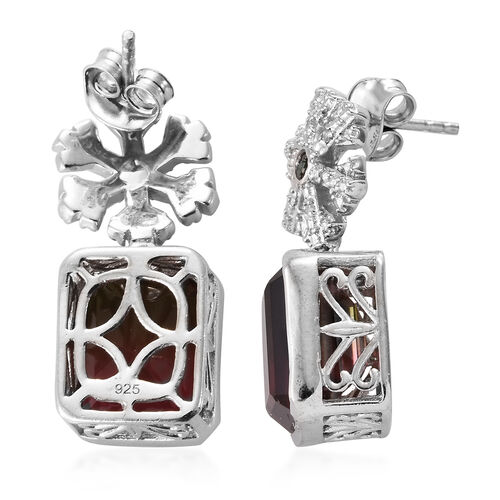 Finch Quartz (Oct 11x9 mm), Diamond and Green Diamond Snow Flake Earrings (With Push Back) in Platinum Overlay Sterling Silver 11.750 Ct, Silver wt 7.15 Gms.
