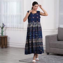 100% Cotton Mandala Print Dress - Blue