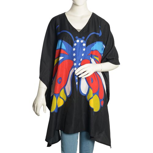 Multi Colour Butterfly Printed Black Colour Kaftan (Free Size)