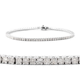 9K White Gold EGL Certified Diamond (Rnd) (I1-I2/G-H) Tennis Bracelet (Size 7.25) 3.01 Ct, Gold wt 7