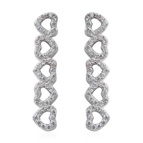 ELANZA Simulated Diamond (Rnd) Heart Dangle Earrings (with Push Back) in Rhodium Overlay Sterling Silver