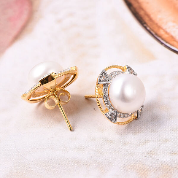 Freshwater White Pearl, Simulated Diamond Detachable Stud Earrings (with Push Back) in Two Tone Overlay Sterling Silver