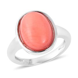 Living Coral (Ovl 14x10 mm) Ring in Rhodium Overlay Sterling Silver