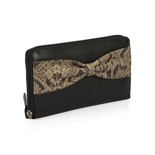 Classic Black 100% Genuine Leather Snakeskin Print Bow RFID Blocking Clutch Wallet (Size 19x2.5x10 cm Large Phone Can Fit In)