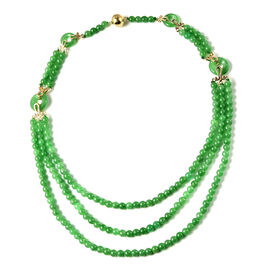 Green Jade Three Layer Beads Necklace (Size - 20) with Magnetic Lock in Yellow Gold Overlay Sterling