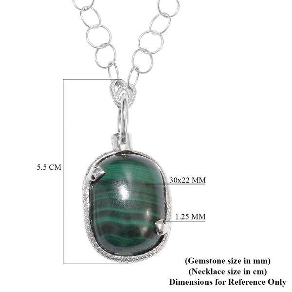 Sundays Child - Malachite, Boi Ploi Black Spinel and Natural Cambodian Zircon Necklace (Size 32) in Platinum Overlay Sterling Silver, Silver wt. 11.00 Gms