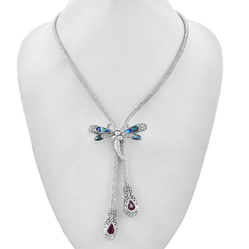 4 Piece Set - Abalone Shell and Ruby Slider Necklace (Size 20) with 3 Interchangeable Pendants in Sterling Silver, Silver wt. 74.20 Gms