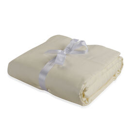 Vegan Silk 4 Pcs. 100% Bamboo Bedding Set in Size DOUBLE - Colour Ivory - (1 Fitted + 1 Flat Sheet &