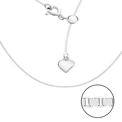 Sterling Silver Sliding Adjustable Box Chain (Size 20) with Charm