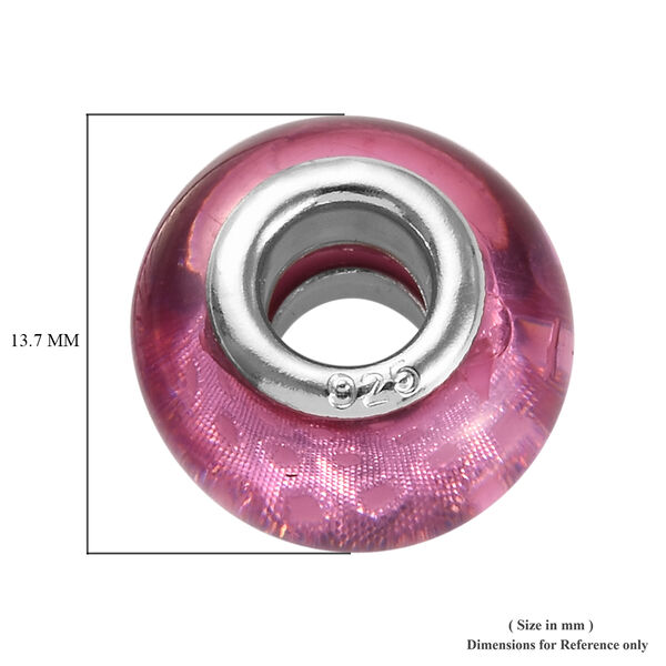 Charmes De Memoire Pink Murano Style Glass Charm in Platinum Overlay Sterling Silver