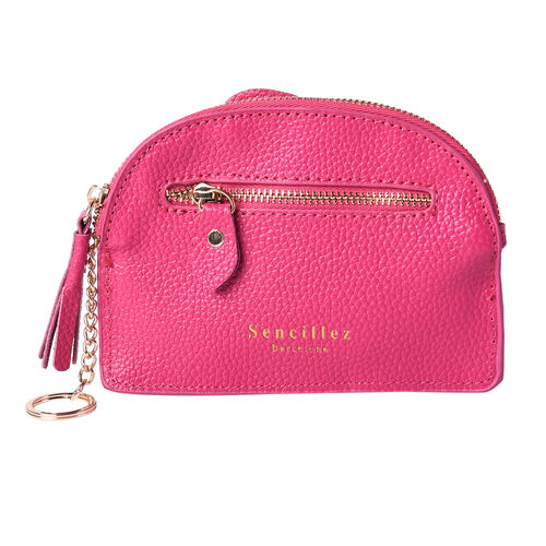SENCILLEZ 100% Genuine Leather RFID Wallet (14x11cm) with Tassel - Fuchsia