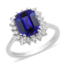 RHAPSODY 950 Platinum AAAA Tanzanite and Diamond Halo Ring  4.30 Ct, Platinum wt. 5.94 Gms