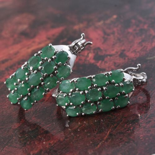 Kagem Zambian Emerald (Ovl) Hoop Earrings (with Clasp) in Platinum Overlay Sterling Silver 4.000 Ct. Silver wt. 5.60 Gms.
