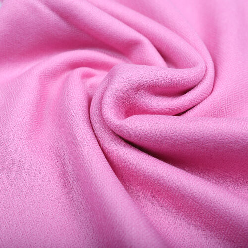 100% Cashmere Wool Pink Colour Scarf (Size 190x70 Cm)