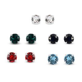 J Francis Set of 5 - Crystal From Swarovski Multi Colour Crystal Stud Earrings in Sterling Silver