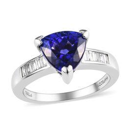 RHAPSODY 950 Platinum AAAA Tanzanite (Trl), Diamond (VS/E-F) Ring 3.25 Ct, Platinum wt 6.07 Gms