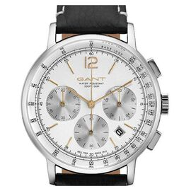 GANT WILMER Multi-function Mens White Dial Watch with Black Leather Strap