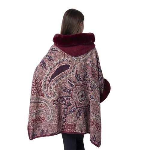 Last Chance-Burgundy Colour Faux Fur Hat Cape with Cashew Flower Pattern (Size 114.3 x 78.74 Cm)