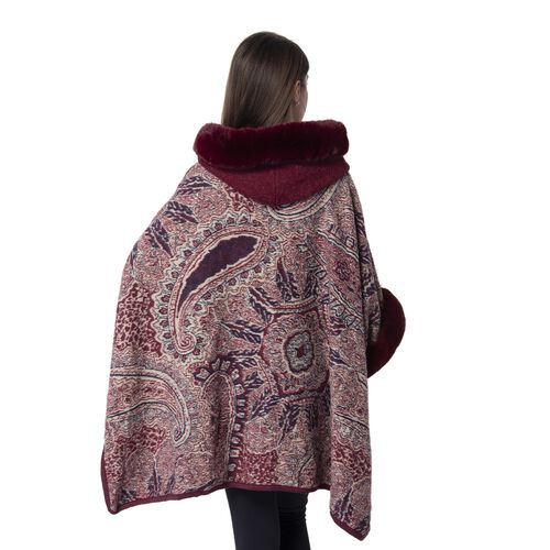 Last Chance-Burgundy Colour Faux Fur Hat Cape with Cashew Flower Pattern (Size 114.3 x 78.74 Cm)