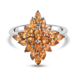 Yellow Sapphire Cluster Ring in Platinum Overlay Sterling Silver 2.60 Ct.