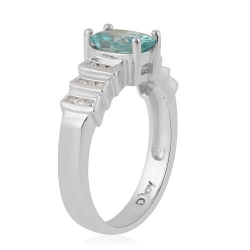 Ratanakiri Blue Zircon and Natural Cambodian Zircon Ring in Rhodium Overlay Sterling Silver 1.37 Ct.