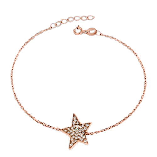 Rose Gold Overlay Sterling Silver Star Bracelet (Size 7 with 0.75 inch Extender)