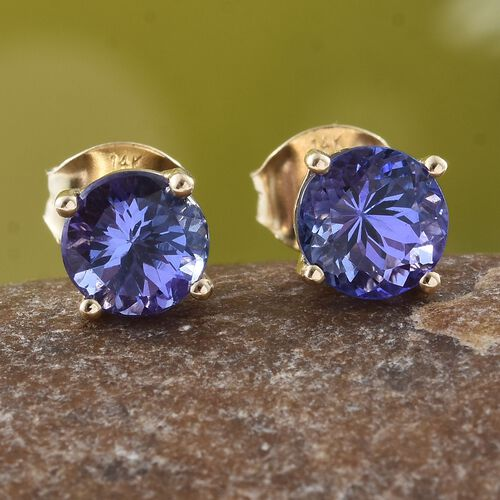 New York Close Out-14K Yellow Gold AAA Tanzanite (Rnd) Stud Earrings (with Push Back) 1.750 Ct.