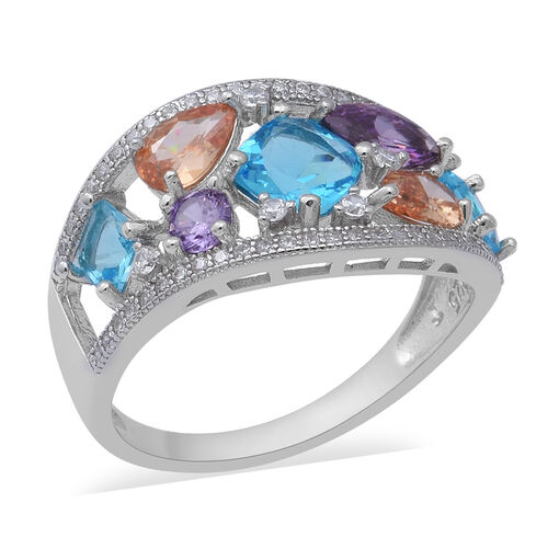ELANZA Simulated Diamond and Simulated Multi Colour Gemstone Cluster Ring in Rhodium Plated Silver