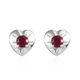 African Ruby (Rnd) Heart Earrings (with Push Back) in Platinum Overlay Sterling Silver 0.75 Ct.