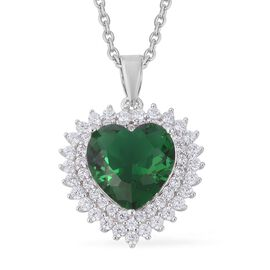 4.75 Ct Simulated Russian Diopside and Simulated Diamond Heart Pendant with Chain in Silver Tone