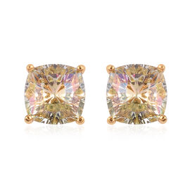 J Francis Crystal from Swarovski Lumingreen Crystal Stud Earrings (with Push Back) in 14K Gold Overl