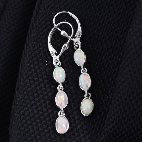 AA Ethiopian Welo Opal (Ovl) Lever Back Earrings in Platinum Overlay Sterling Silver 2.000 Ct.